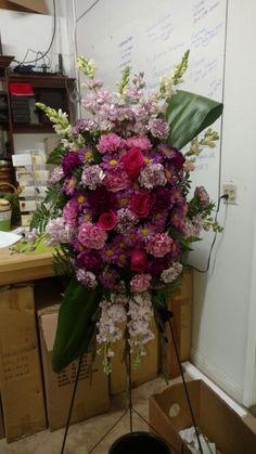 Purple Paradise Standing Spray Paradise, Floral Wreath, Wreaths, Purple, Gallery, Flowers, Home Decor, Flower Crowns, Door Wreaths