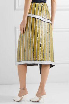 Monse - Sequined Silk-chiffon Wrap Skirt - Saffron - US6
