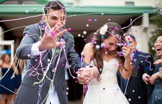 Silly string and pom poms - Delightfully Designed - theBLOG: 5 Creative Grand Exit Ideas!