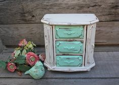 "Love the ""Tiffany"" blue with the white and vintage look. I am visualizing all of the places in my home I would want to put this <3"
