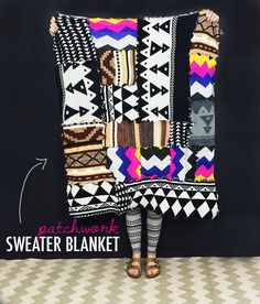 DIY: patchwork sweater blanket