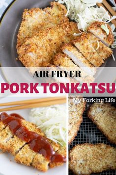 These Air Fryer Boneless Pork Chops (Japanese Tonkatsu) are easy, crispy, and delicious. Now you can have your favorite fried pork chop without the added fat. A quick and healthy dinner option. New Recipes For Dinner, Air Fryer Dinner Recipes, Air Fryer Recipes, Snack Recipes, Cooking Recipes, Budget Recipes, Dinner Ideas, Pork Tonkatsu Recipe, Cooked Pork Recipes