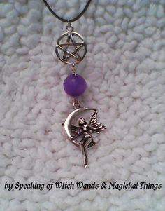 Purple Jade Faery Pentagram Necklace - The Stone of Angels $14.99