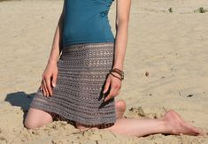 The PDF-description explains how to crochet this knee length skirt. Wear it either with slip skirt or a bikini - both ways look great. You will