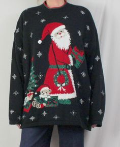 Ugly Christmas Sweater 3x size Big Santa with Bear Tree Presents Wreath Mens Womens
