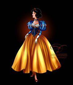 Disney Haut Couture - Snow White by tiffanymarsou on DeviantArt Disney Haut Couture - Snow White by selinmarsou Disney Princess Fashion, Disney Princess Snow White, Snow White Disney, Disney Princess Art, Princess Style, Disney Style, Snow White Art, Walt Disney, Disney Art