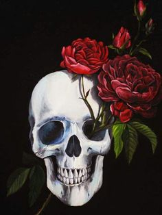 Skull Art - with red roses