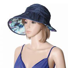 Women Summer Sun Protective Foldable Hat Anti-UV Wide Brim Outdoor Gardening Visor Cap