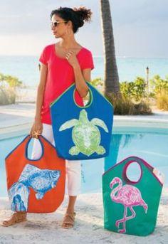 Boca Beach Tote - Screen Printed Tote Bags, Cotton Jute Tote, Beach Day Tote Bag | Soft Surroundings