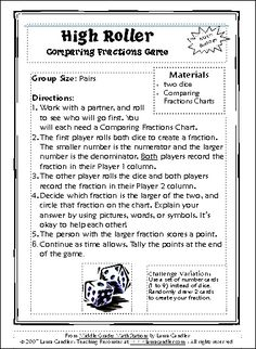 High Roller Comparing Fractions Game - look for it in the sidebar on this page