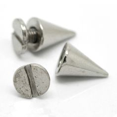 50Sets Fashion Silver Tone Cone Punk Studs Spots Rivets Spike Bag Shoes Clothes Crafts Findings 10x7mm 7x6mm