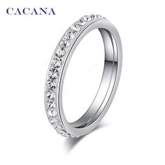 $1.36 - Awesome CACANA Titanium Stainless Steel Rings For Women Small CZ  Surround Fashion Jewelry Wholesale NO.R19 - Buy it Now!
