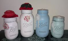 Painted and decorated cute little mason jars. I used Shabby Paints Snow White, So Serene, Dynasty Blue and White ReVax to paint them, lightly distressed and decorated with bits of lace and trim.