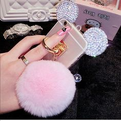 Cute Bling Diamond Mickey Rabbit Tail Ring Soft Case Cover for iPhone/Samsung Iphone Cases Bling, Girly Phone Cases, Glitter Phone Cases, Apple Iphone 5, Apple Ipad, Unicorn Iphone Case, Phone Accesories, Fur Keychain, Piercings