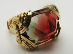 Red/Green Watermelon Andesine 14kt Gold Filled by JandSGems