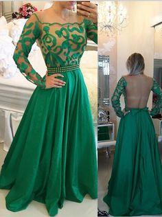 Modern A-Linie Rundhalsausschnitt Bodenlang Grün Ball/Abendkleid mit langen Ärmeln