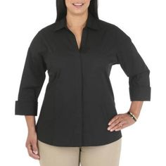 Plus Size Riders by Lee Women's Plus Classic Career Shirt, Size: 4XL, Black