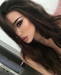 smokey eyes, eye make up, nude brown lipstick, contouring, highlighting, face, eyebrows, long dark black hair