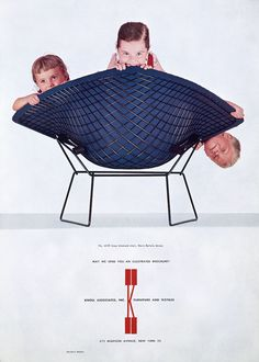 Knoll advert designed by Herbert Matter, featuring the Bertoia Diamond Chair designed by Harry Bertoia. Furniture Ads, Vintage Furniture, Cool Furniture, Furniture Design, Chair Design, Harry Bertoia, Eames, Herbert Matter, Happy Birthday