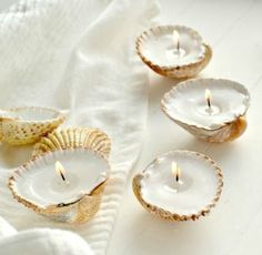 How to make seashell candles: http://www.completely-coastal.com/2009/10/making-seashell-candles.html The deeper the shell, the longer the burning time of the seashell candle!