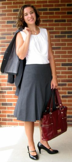 First Interview Outfit:  Blazer, Skirt, and Blouse- Calvin Klein (Macy's); Shoes-Liz Claiborne (Shoe Carnival); Tote-Relic (Kohl's)