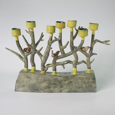 yellow - birds and tree branches - ceramic - Anna Lambert Candlestick Holders, Candlesticks, Auguries Of Innocence, Ceramic Light, The Fragile, Ceramic Birds, North Yorkshire, Earthenware, Tree Branches