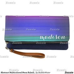 Abstract Multicolored Neon Kaleidoscope Stripes Clutch