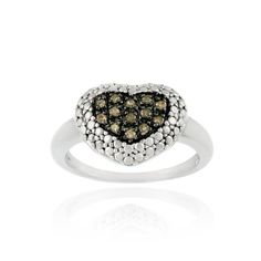 Sterling Silver 1/8ct. TDW Champagne Diamond Heart Ring - See more at: http://blackdiamondgemstone.com/chocolate-diamond-rings/sterling-silver-18ct-tdw-champagne-diamond-heart-ring/