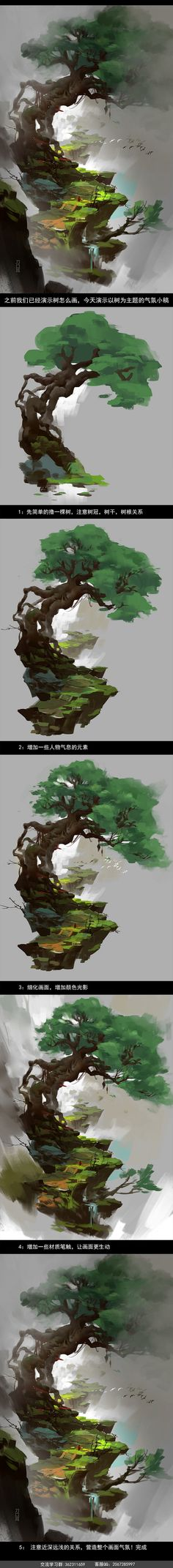 Drawing a tree. But it's more than a tree. Drawing a trail.