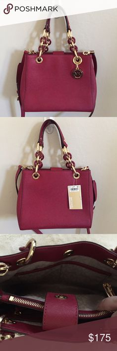 Michael Kors Small Cynthia Crossbody New with tags, please see last pic for actual color (red cherry) Michael Kors Bags Crossbody Bags