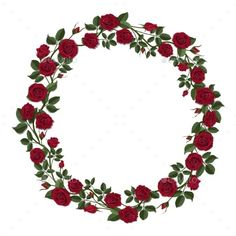 Buy Round Wreath of Red Roses by belander on GraphicRiver. Round wreath of red roses. Round frame of flowers and buds of red roses. Template for greeting card. Rose Frame, Flower Frame, Flower Art, Red Flowers, Red Roses, Floral Rosa, Wreath Drawing, Flower Circle, Red Peonies