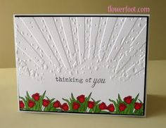 """use different flowers at bottom, put card vertically, will fit a """"hill"""" of flowers or just about anything .Tim Holtz Rays embossing folder"""