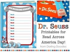 FREE Dr.Seuss printables for Read Across America Day, including bookmarks and a reading chart. #freebies