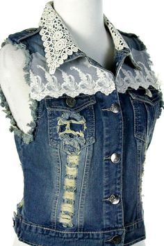 Diy clothes refashion jackets 27 Ideas for 2019 Diy Jeans, Love Jeans, Denim And Lace, Western Outfits, Denim Vests, Denim Jackets, Diy Clothes Refashion, Denim Ideas, Denim Crafts