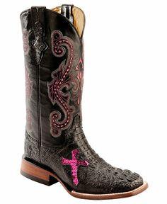 Ferrini Caiman Croc Print Cross Cowgirl Boots - Wide Square Toe