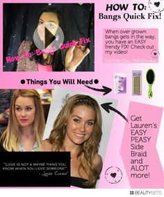 Get The Look: Lauren Conrad's Side Braid & More! - http://www.beautysets.com/sets/24084 - Beauty Fashion DIY