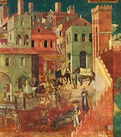 ambrogio lorenzetti peaceful city Ambrogio lorenzetti, peaceful city, detail from effects of good government in the city and in the country, sala della pace, palazzo pubblico, siena, italy, 1338–1339 fresco ambrogio lorenzetti was pietro lorenzetti's brother and elaborated on what had been done in the past with perspective.