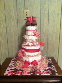 Pink Camo Diaper Cake by BowkerBabyCakes on Etsy, $65.00