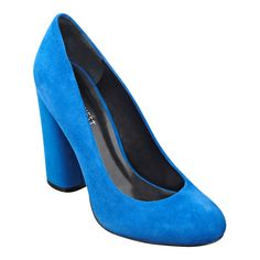 Miracl blue suede chunky pumps