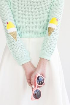 create your own spring look. diy icecream ellbow patches and pastell colors…