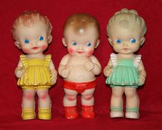 Vintage Sun Rubber squeeky dolls for baby. I believe that last doll w/green dress was a doll I had when I was a little girl. Doll Toys, Baby Dolls, Rubber Doll, Vintage Nursery, Old Dolls, Tin Toys, Retro Toys, Dollhouse Dolls, Antique Toys