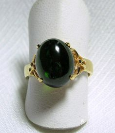 UNIQUE Approx 4.05 Cts Oval Cabochon Cut GREEN TOURMALINE Ring 14K Gold Size 7