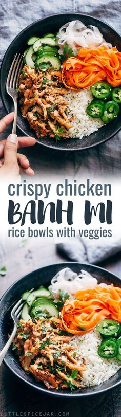 Chicken Banh Mi Bowls with Veggies - An instant pot recipe for crispy chicken served with rice and tons of veggies!Crispy Chicken Banh Mi Bowls with Veggies - An instant pot recipe for crispy chicken served with rice and tons of veggies! Pressure Cooker Chicken, Pressure Cooker Recipes, Cooking Recipes, Healthy Recipes, Rice Recipes, Food Bowl, Food Jar, Crispy Chicken, Chicken Rice