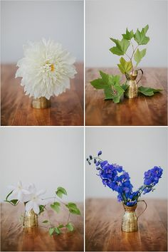 Simple Blue and White Bouquet Recipe.  Replace these fresh florals with faux and create a DIY bouquet that you can keep long after your wedding.  Also a great idea for a toss bouquet!  FInd faux dahlia, clematis and more at Afloral.com.