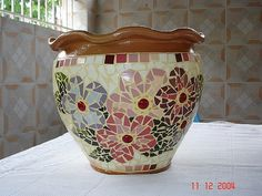 mosaic pot with flowers