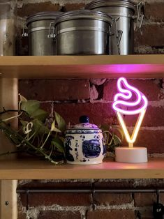 Show your love for everyone's favorite dessert with this mini LED light! Luxury Homes Dream Houses, Dream House Interior, Pink Home Decor, Home Decor Bedroom, Room Decor, Neon Light Signs, Neon Signs, Kitchen Shelf Decor, Kitchen Shelves