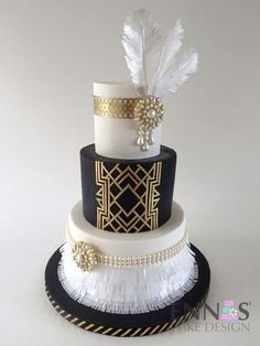 45 Breathtaking Art Deco Wedding Cakes | HappyWedd.com