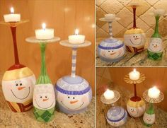 DIY Christmas Snowman Wine Glass Candle Holders - Find Fun Art Projects to Do at Home and Arts and Crafts Ideas Kids Crafts, Christmas Crafts For Kids, Holiday Crafts, Christmas Ideas, Christmas Design, Simple Christmas, Wine Glass Candle Holder, Candle Holders, Candle Stands