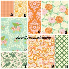 Custom Crib Bedding You Design   Bumper and Bedskirt Heather Bailey persimmon