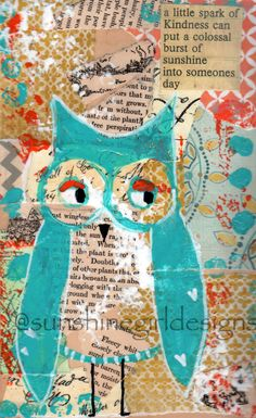owl mixed media